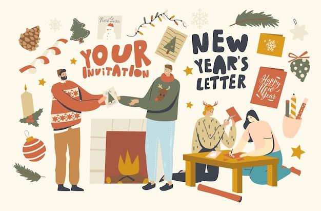 크리스마스 인사말 카드를 만들고 주는 남성과 여성 캐릭터. 크리스마스 휴일 축하, 겨울 축제 시즌에 친구나 가족에게 따뜻한 축하를 전합니다. 선형 사람들 벡터 일러스트 레이 션