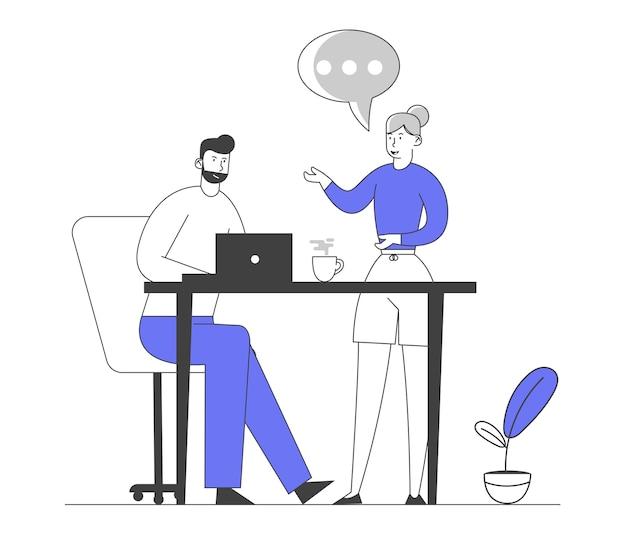 남성과 여성 캐릭터 사무실 직원 크리에이티브 팀.