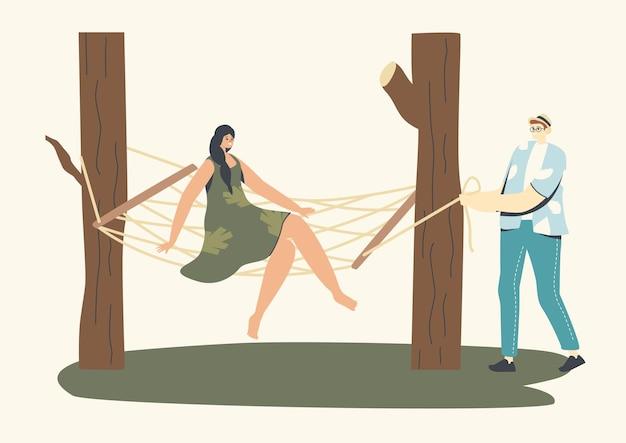 남성과 여성 캐릭터가 야외에서 위커 가구에서 휴식을 취합니다.