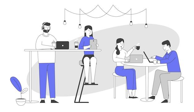 Персонажи мужского и женского пола, сидящие в кафе, обмениваются сообщениями в социальных сетях