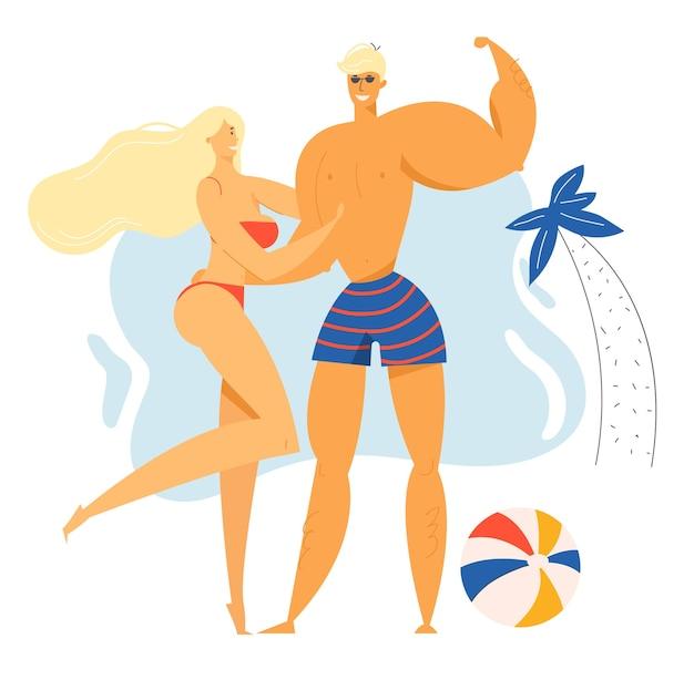 Мужские и женские персонажи проводят время на пляже экзотического курорта