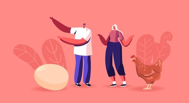 암탉 근처에 서 있는 남성과 여성 캐릭터는 닭이나 달걀이 먼저인 역설이나 수수께끼를 해결합니다