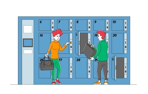 수화물 보관 서비스를 사용하는 남녀 캐릭터는 유료 번호가있는 사물함에 가방을 넣습니다.