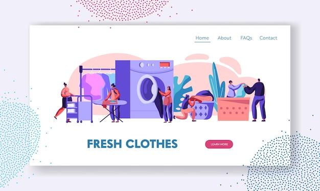 세탁기에 빨래를 적재하는 남성과 여성 캐릭터. 웹 사이트 방문 페이지 템플릿