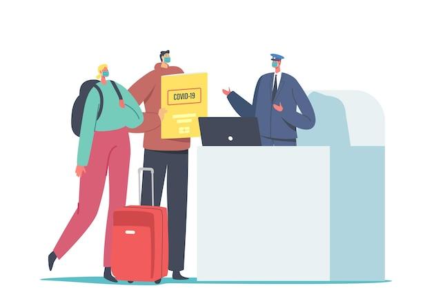 Персонажи мужского и женского пола в медицинских масках с багажом и паспортом здоровья. регистрация в аэропорту за границу с сертификатом вакцины covid 19.