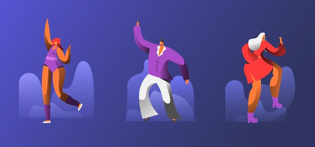 Мужские и женские персонажи в стилизованных костюмах танцуют на ретро-дискотеке. мультфильм плоский иллюстрация