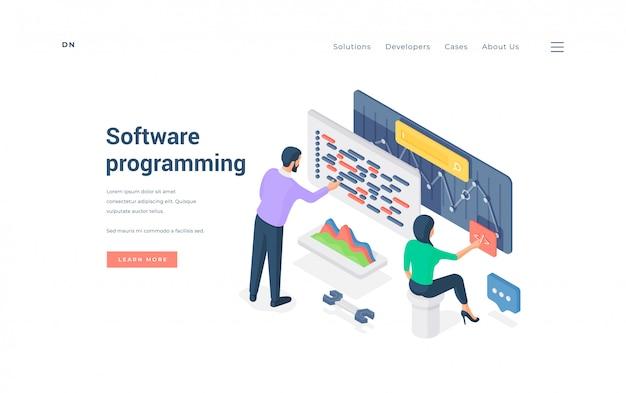 男性と女性の同僚プログラミングソフトウェア。図