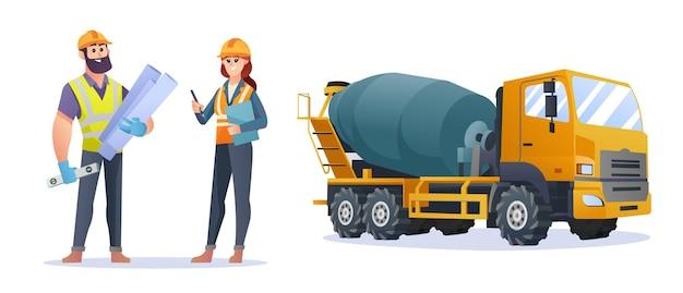 コンクリートミキサー車のイラストと男性と女性の建設エンジニアのキャラクター