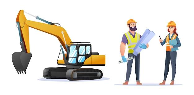 掘削機のイラストと男性と女性の建設エンジニアのキャラクター
