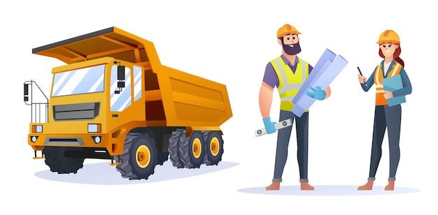 トラックのイラストと男性と女性の建設エンジニアのキャラクター