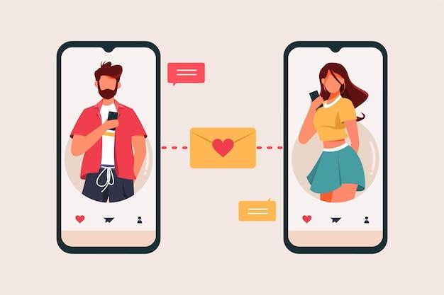 Концепция приложения для знакомств для мужчин и женщин
