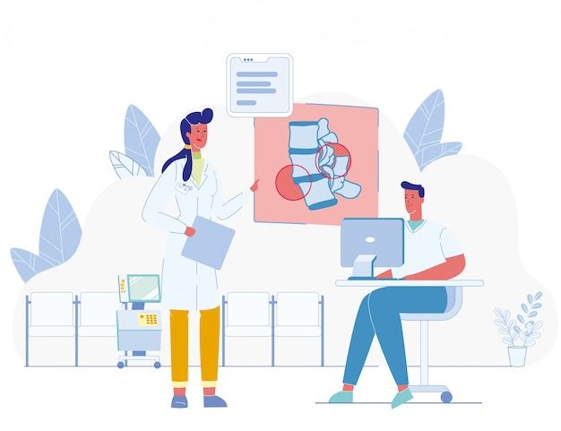 コートの男性と女性の医師がヘルスケアについて話し合う