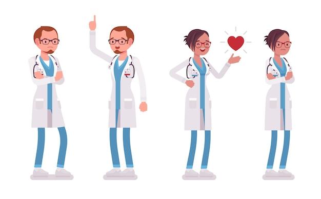 男性と女性の医師が立っています。さまざまな感情や気分を持っている病院の制服を着た男女。医学、ヘルスケアの概念。白い背景の上のスタイル漫画イラスト