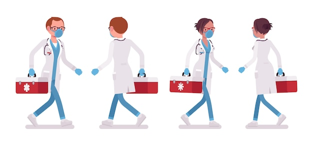 Мужской и женский доктор ходьба. мужчина и женщина в больничной форме с красной коробкой. концепция медицины и здравоохранения. иллюстрации шаржа стиля на белом фоне, спереди, вид сзади