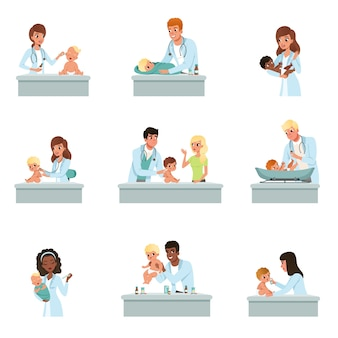 흰색 배경에 작은 아이 삽화에 대한 남성과 여성의 의사 검진