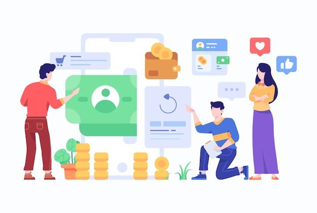 男性と女性の従業員が人々を分析する財務プロファイルオンラインコンセプト