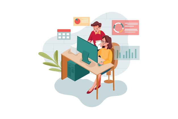 온라인 마케팅을하는 남녀 직원