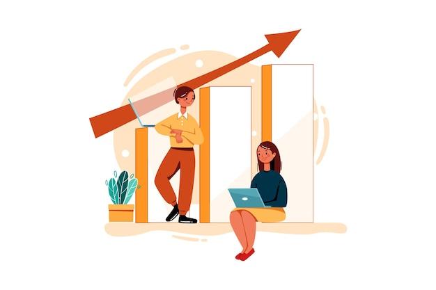 매출 성장을 위해 노력하는 남성 및 여성 직원
