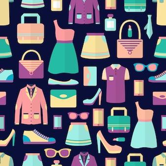 男性と女性のファッションスタイリッシュなカジュアルなショッピングアクセサリーシームレスなパターンのベクトル図