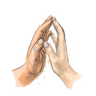 Мужские и женские руки касаются пальцами из всплеск акварели, рисованный эскиз. иллюстрация красок