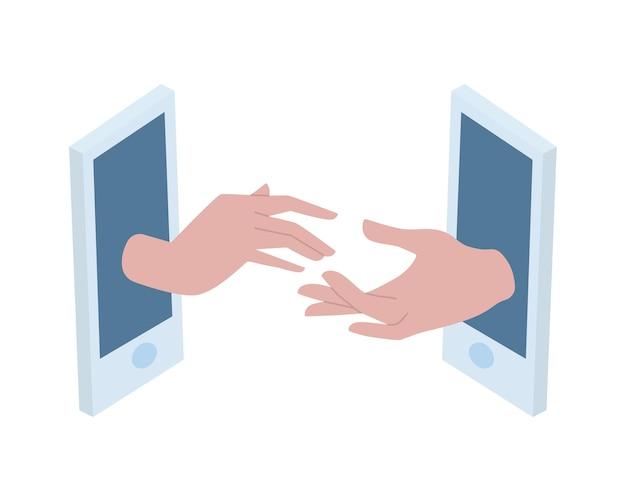 男性と女性の手が電話から出てきて、お互いに手を伸ばします。距離、距離、ビデオ通話での愛とコミュニケーションの概念。