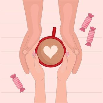 날짜에 커피 한 잔을 들고 남성과 여성의 손