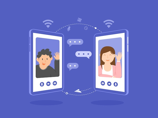 スマートフォンの画面、オンライン会議、オンラインデート、イラストでビデオ通話をしている男性と女性。