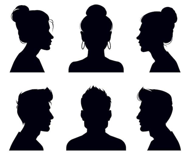 男性と女性の頭のシルエット。人物プロフィールとフルフェイスのポートレート、匿名の影のポートレート