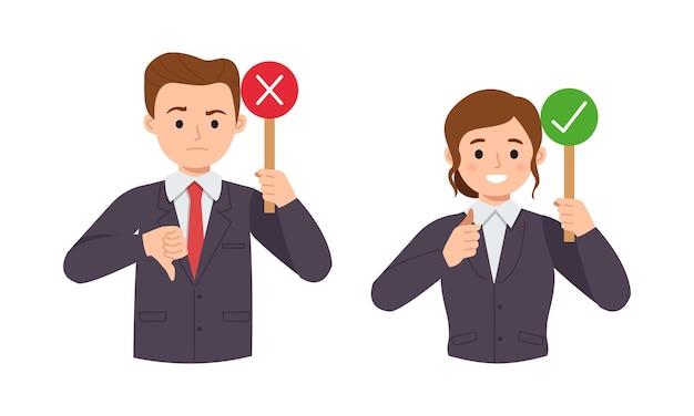 비즈니스 정장의 남성과 여성은 예 또는 아니오 표시를 보여줍니다