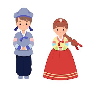 秋夕の休日のお祝いのための伝統的な韓国の服の男性と女性。北朝鮮の主要な収穫祭。分離されたクリップアートセット
