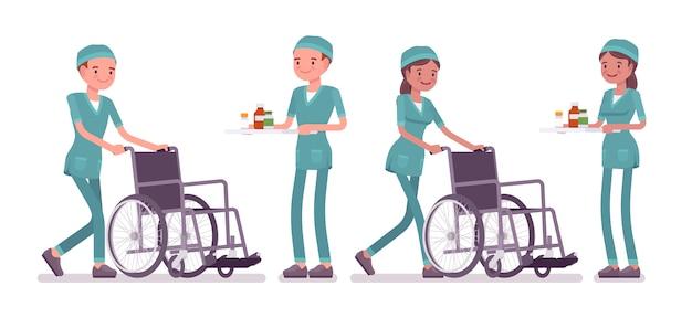 医療処置での男性と女性の看護師
