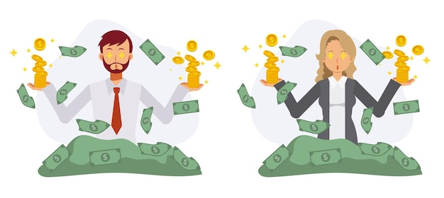 男性と女性のサラリーマンは、周囲のコインや紙幣に興奮しています。銀行、利益の概念。フラットベクトル漫画のキャラクターイラスト。