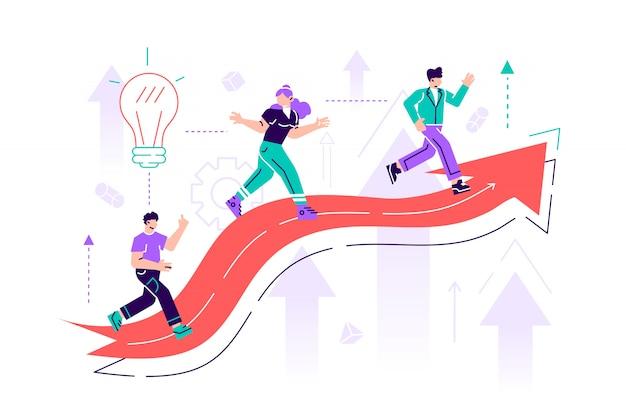 Мужские и женские офисные работники, менеджеры или клерки, восхождение на восходящей диаграмме. достижение бизнес-целей, карьерный рост и продвижение по службе, профессиональная конкуренция. плоская иллюстрация стиля