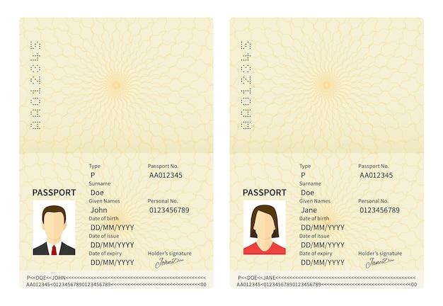 Открытые мужские и женские паспорта. векторный документ, удостоверяющий личность. идентификатор с фотографией человека и текстом. личная информация и фотографии мужчины и женщины в плоском стиле
