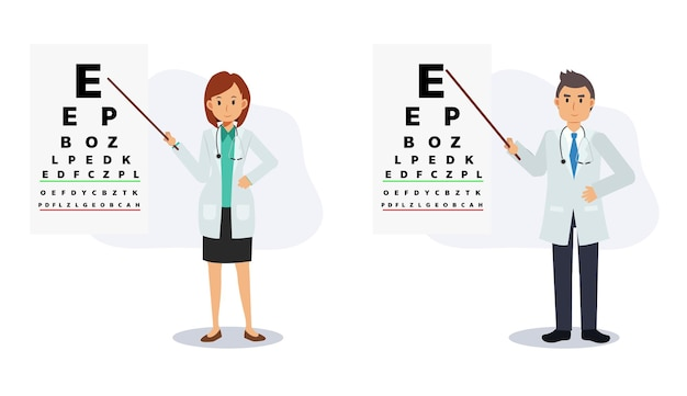 Врач офтальмологии мужского и женского пола указывают на диаграмму проверки зрения. проверка остроты зрения. концепция проверки глаз. плоские векторные иллюстрации персонажа из мультфильма.
