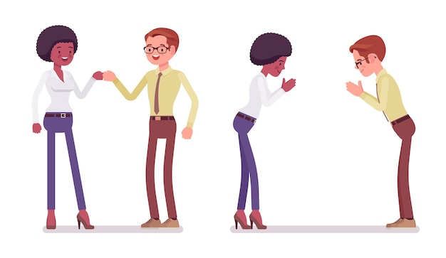 Приветствие партнеров мужского и женского пола
