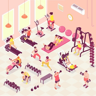 체육관 3d 아이소 메트릭에서 피트니스 심장 및 웨이트 트레이닝을하는 남성과 여성의 사람들