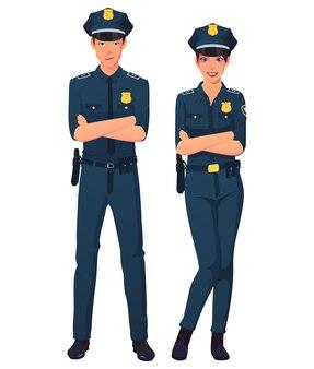 男性と女性の警察官チームの立ちポーズ。