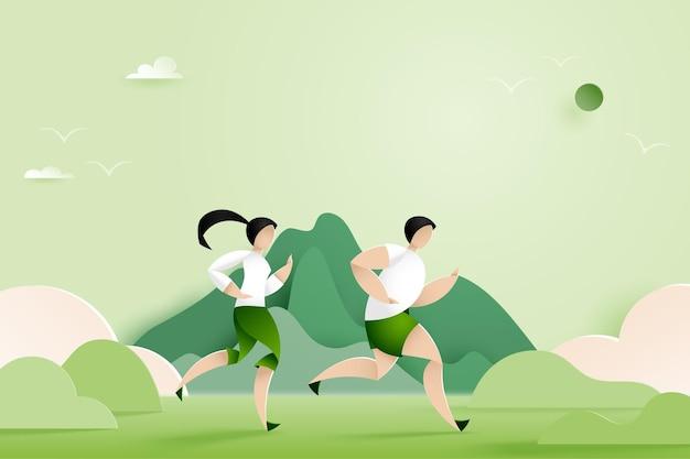 自然の山の風景の中を走る男性と女性。マラソンやトレイルランニングのスポーツ活動。ペーパーアートイラスト。