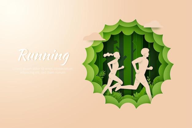 屋外の自然の風景の中を走る男性と女性。マラソンやトレイルランニングのスポーツ活動。ペーパーアートイラスト。