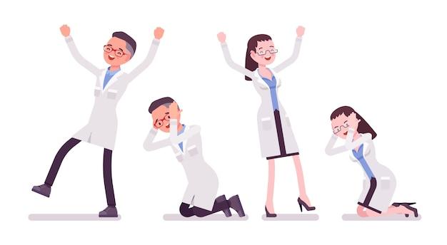 さまざまな感情の男性と女性の科学者。白衣の物理的または自然な実験室の専門家。科学技術。白い背景の上のスタイル漫画イラスト