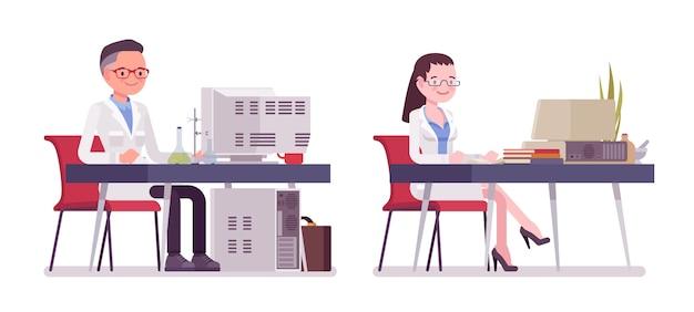 デスクで働いている男性と女性の科学者。コンピューターの白衣の物理的または自然な実験室の専門家。科学技術。スタイル漫画イラスト、白い背景