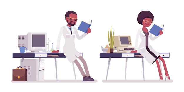 Ученые мужского и женского пола, работающие
