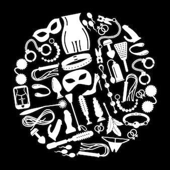 Элементы мужского и женского пола. секс-игрушки, наручники и фетиш, секс-вибратор или фаллоимитатор и аксессуары.