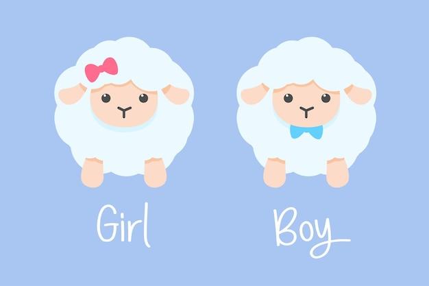 弓で飾られたオスとメスの羊