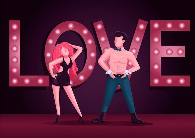 男性と女性のストリップダンサーカラーイラスト。魅力的な男性と女性のダンスパフォーマンスの漫画のキャラクター。背景にナイトクラブのライトが付いているストリップショー
