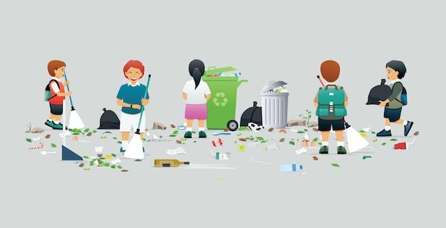남학생과 여학생이 쓰레기 청소와 수거를 돕습니다.