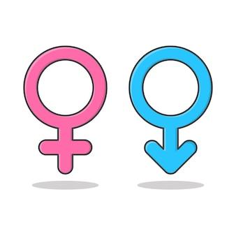 Мужские и женские символы векторные иллюстрации значок. гендерный символ розовый и синий плоский значок