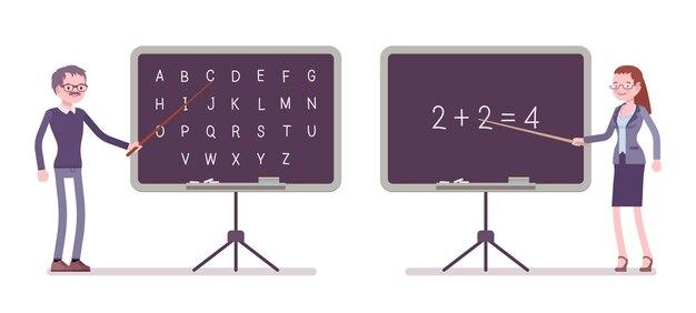 黒板の男性と女性の教師