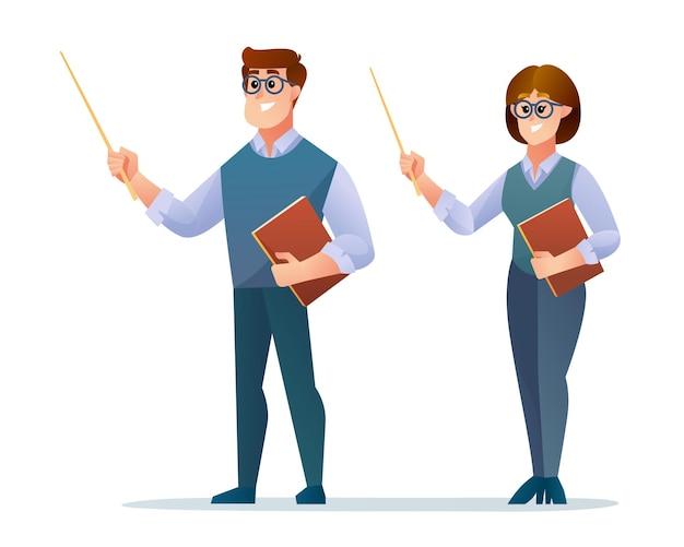 男性と女性の教師の文字セット